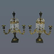 Pair Regency Bronze and Gilt Metal Lustres probably by Thomas Messenger (c. 1820 England)