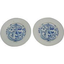 Pair Dutch Delft Blue and White Armorial Plates dated 1686 (1686 Holland)
