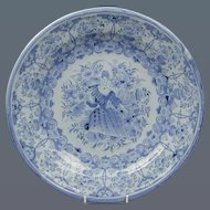 German Faience Dish with Portrait of a Lady. (c. 1720 Germany)