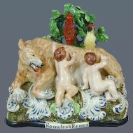 Staffordshire Pottery Bocage Group of Romulus & Remus (c. 1810 England)