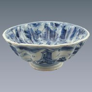 Savona Blue and White Faience Bowl. (c. 1700 Italy)