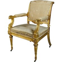 Regency giltwood armchair in country house condition (England, c.1810)