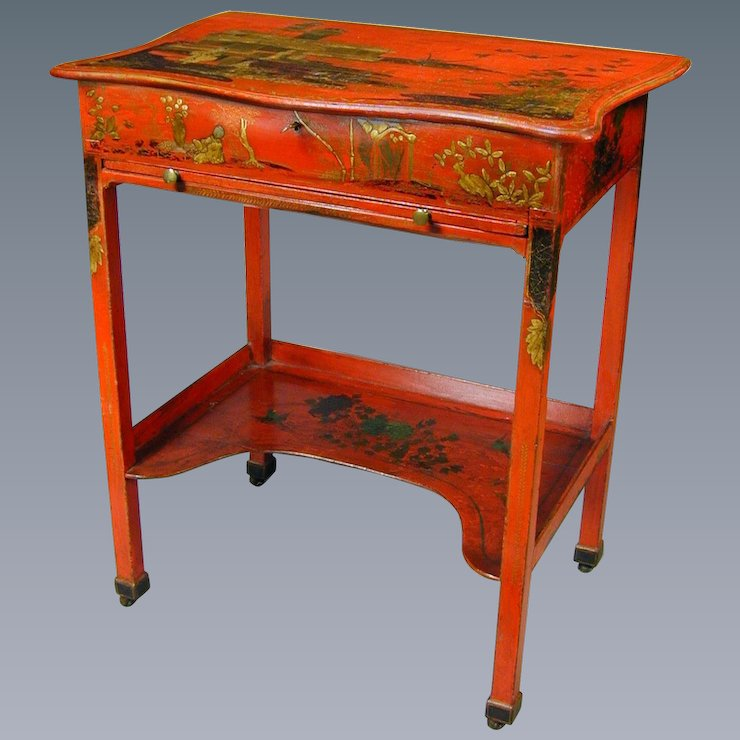 George Iii Red Lacquer Dressing Table With Ed Interior England C 1770