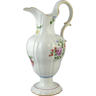 Doccia porcelain floral decorated ewer. Italy, c.1770