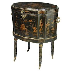 Regency black japanned cellarette on stand. England, c.1810