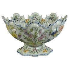 Italian faience Le Nove factory floral decorated monteith of large size. Italy, c.1840
