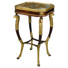Regency simulated rosewood and giltwood worktable with original floral painted silk panel to the top. England, c.1810