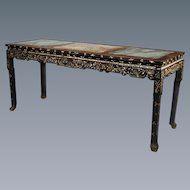 Chinese marble topped centre table profusely inlaid with mother of pearl, c.1870