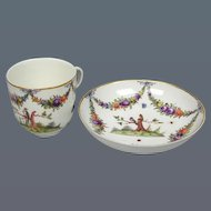 Nymphenburg Bird Decorated Cup and Saucer (c. 1770 German)