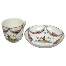 Nymphenburg Bird Decorated Cup and Saucer (c. 1770 German)