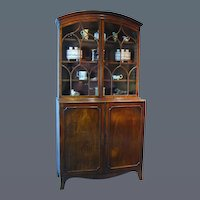 George III Mahogany Bonnet-Topped Bookcase (c. 1790 England)