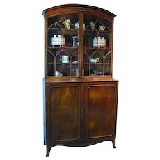 George III Mahogany Bonnet-Topped Bookcase (c. 1790 England)