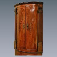George II Mahogany Bow Front Double Corner Cupboard. (c. 1760 England)