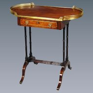 Regency Mahogany and Brass Inlaid Bow Ended Occasional Table, with Original Gallery. Circa 1810. (c. 1810 England)