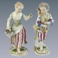 Pair of Meissen Figures of Flower Sellers (c. 1760 Germany)