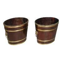 Pair of George III Brass Banded Buckets (c. 1790 England)