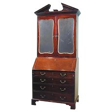 George II Mahogany Bureau Bookcase (c. 1750 England)