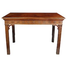 Chippendale period mahogany sidetable with blind fret to the frieze. England, c.1770