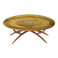Mid Century Brass & Teak Wood Tray Table - Massive