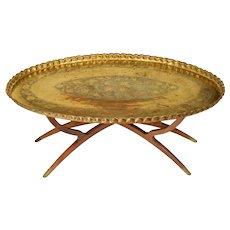 Mid Century Brass & Teak Wood Tray Table - Massive