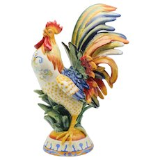 Fitz & Floyd Large Ricamo Rooster Hand Painted