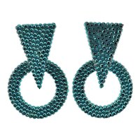 Pair Richard Kerr Green Geometric Earringsm- Triangle over Circle