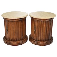 Pair Fluted Column Storage End Tables with Faux Marble Tops