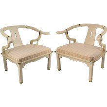 Pair Asian Style Horseshoe Chairs - Cream Lacquer - Century Chair Company - manner of James Mont