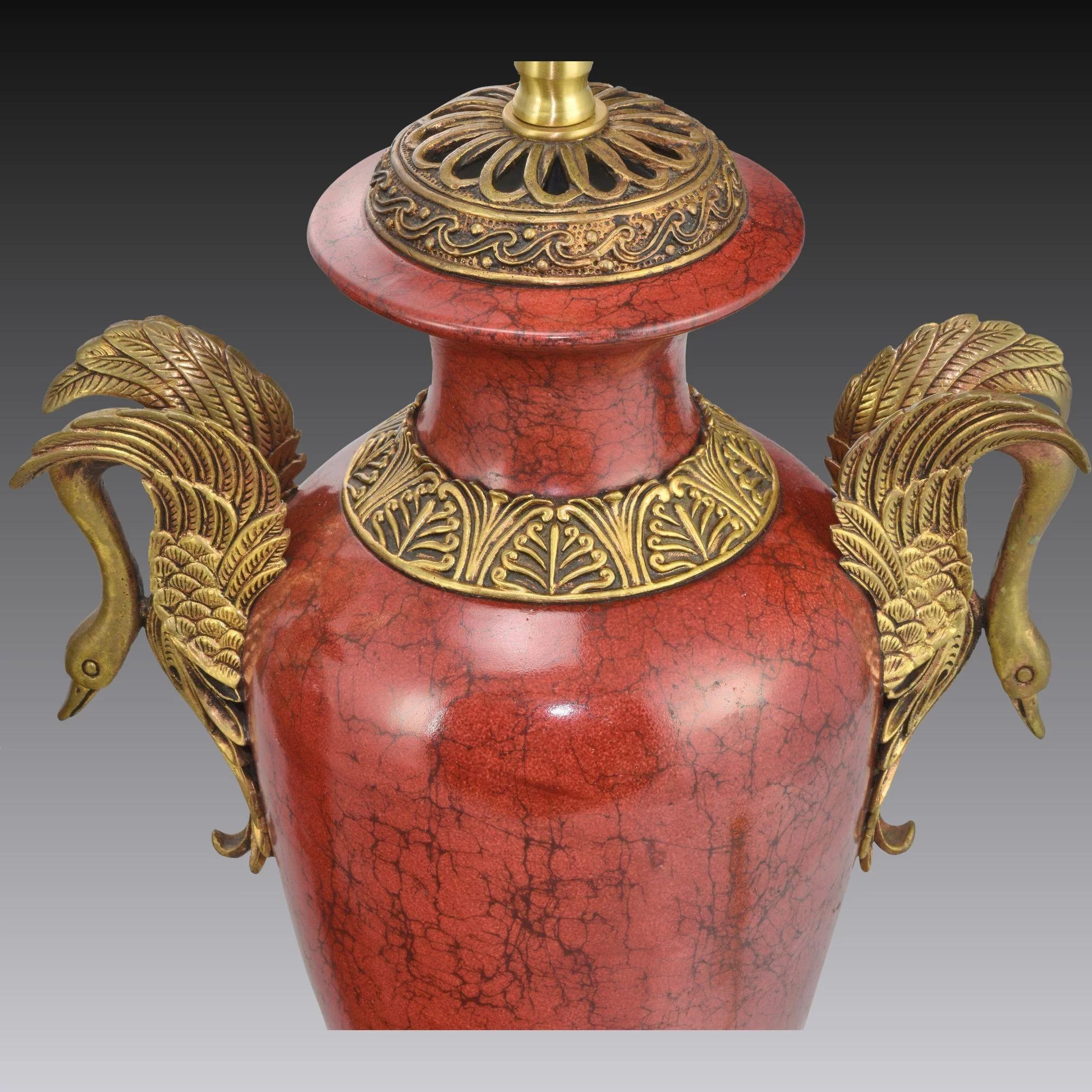 Pair Oriental Accent Lamps Faux Red Marble And Brass