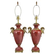 Pair Oriental Accent Lamps - Faux Red Marble and Brass with Swans