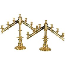 Antique Bronze Articulated Church Alter Candelabra with 7 Candle Holders