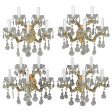Set 4 Vintage Italian Maria Theresa 5 Light Wall Sconces