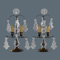 Pair Petite French Bronze and Crystal Candelabra Lamps
