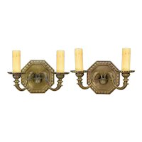 Pair Vintage Octagonal Cast Bronze 2 Light Sconces