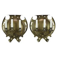 Pair Large Antique Brass 3 Light Sconces - Arts and Crafts
