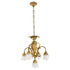 Antique French Gilt Bronze 5 Light Chandelier with Flower Petal Glass Shades