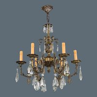 Vintage French Bronze and Crystal 6 Light Chandelier