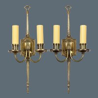 Pair Elegant Vintage English Bronze 2-Light Sconces