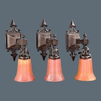3 Antique Dark Bronze Wall Sconces with Carnival Glass Shades - Age Patina