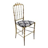 Vintage Chiavari Brass Chair with Fleur de Lis Seat
