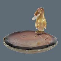 Archimede Seguso Murano Aventurine Amethyst Glass Duck Figure Bowl or Dish