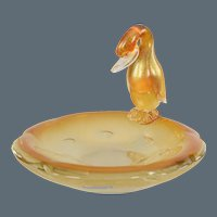 Archimede Seguso Murano Aventurine Gold Glass Duck Figure Bowl or Dish