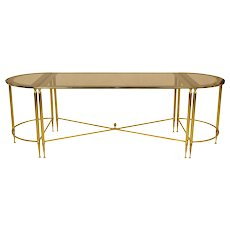 Mid Century French Cocktail or Coffee Table Trio Set - Brass and Glass