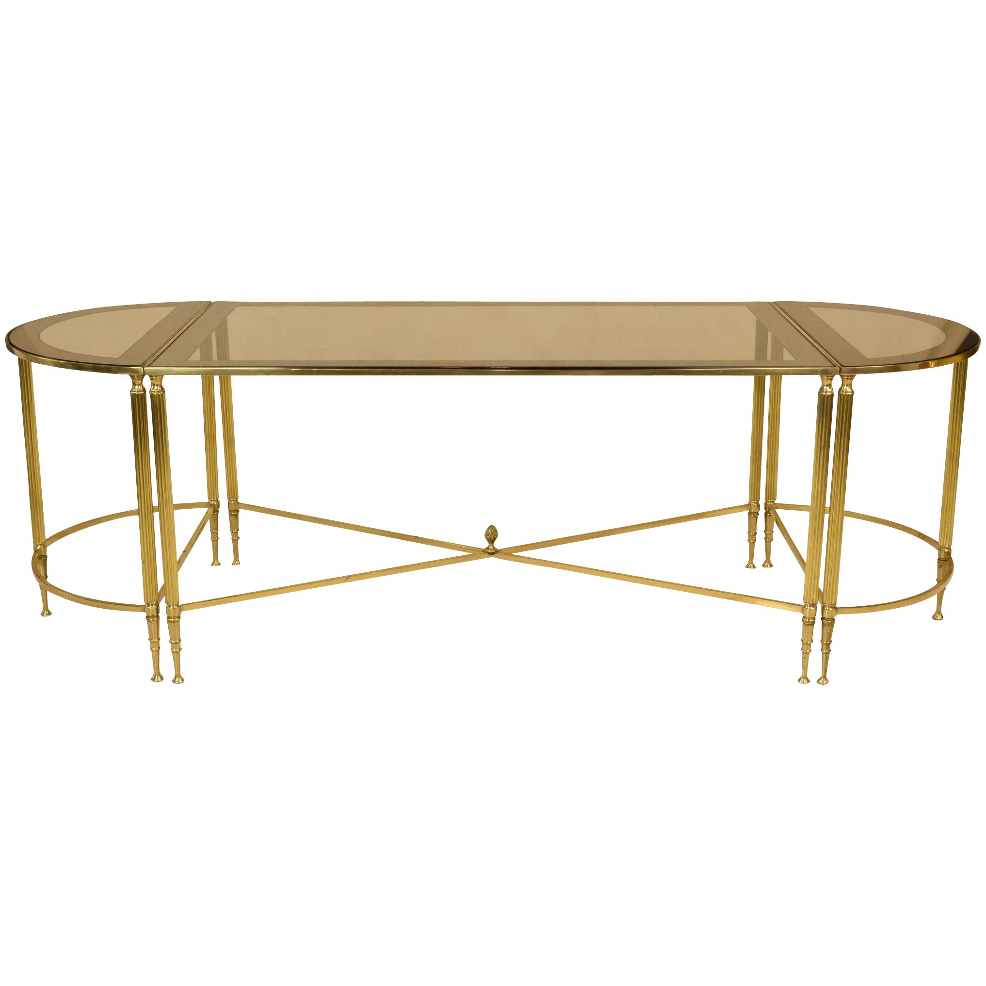 Mid Century French Cocktail Or Coffee Table Trio Set Brass And Glass