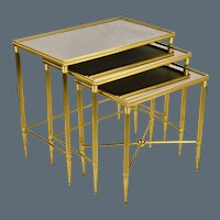 Set 3 Vintage Italian Brass Nesting - Stacking Tables
