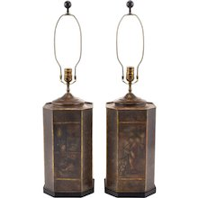 Pair of Chinese Chinoiserie Tea Tin Lamps by Chapman - 1974