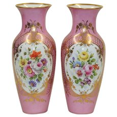 Pair Antique Pink Gilded KPM Vases - Gilt with Hand Painted Florals