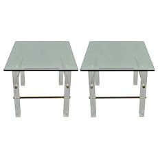 Vintage Pair Glass and Lucite End Tables