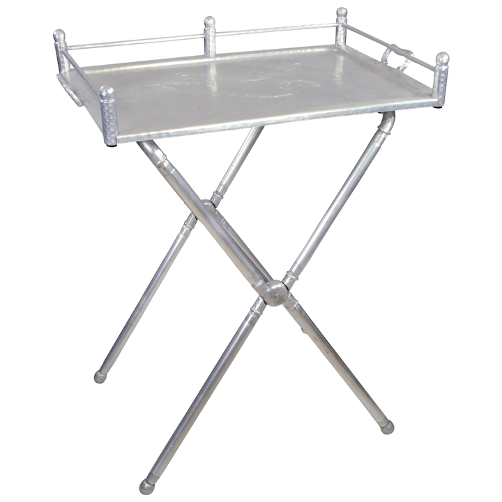 Vintage Everlast Wrought Aluminum Tray Table Folding X Stand