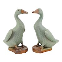 Pair Vintage Chinese Porcelain Celadon Ducks - Early to Mid 20th Century